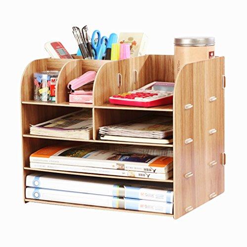 Organizador de escritorio de madera organizador de escritorio bandeja de escritorio con lapicero multifuncional estante de almacenamiento sistema de almacenaje para libros periódicos y revistas, color Blanc du Bois 32 * 25 * 27.5cm