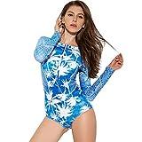 YUHUISTART Surfanzug für Damen Tauchanzug Boho Blumen Muster Wetsuit Neoprenanzug Reißverschluss Langarm Rash Guard für Surf, Kayak, Bodyboard(Mehrfarbig,L)