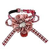 jianchangsheng Hundehalsband, modisch, mit Schleife und Glöckchen, verstellbar, Größe XS, Rot