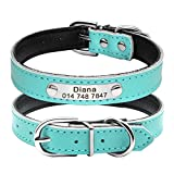"Berry Soft PU Leather Padded Solid Personalized Dog Cat Collar,Blue,XS,Neck Size 7.5-10""(19-25cm)"