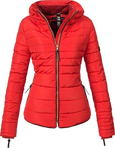 Marikoo Damen Jacke Winterjacke Steppjacke Amber (vegan hergestellt) Rot Gr. XL