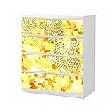 Set Möbelaufkleber für Ikea Kommode MALM 4 Fächer/Schubladen 3D Effekt Stern gold gelb abstrakt Kunst Textur Muster Aufkleber Möbelfolie sticker (Ohne Möbel) Folie 25B1103