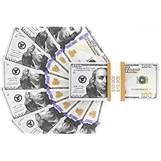 Realistic Double Sided Prop Money - Set of 100 $100 Dollar Bills $10,000 with Orange Currency Strap - Full Print Paper Money for Movie, TV, Videos, Pranks, Advertising & Novelty