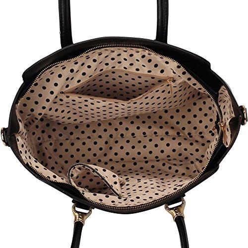 LeahWard® Damen Große Größe Berühmtheit Stil Tragetaschen nett Damen Schultertasche Handtaschen 456 Schwarz