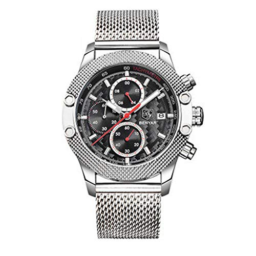 Dorical Luxus Chronograph für Herren, BENYAR Quarzwerk Armbanduhren Fashion Businessuhr, Wasserdichte Casual Uhr mit Kalender Datum und hoch präzisen Edelstahl-Band für Männer(B)