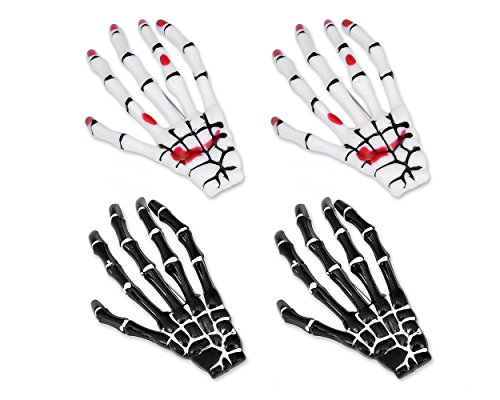 DSstyles Haarspangen 2 Paar Hände Knochen Halloween Haarspangen Skeleton Haar Zubehör für Mädchen - Weiß und (Haarspange Knochen)