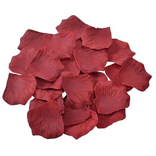 Doutop-petali di rosa artificiali, effetto seta, 1000 pezzi, per matrimonio, festa a forma di fiore con petali di matrimonio flora favor bordeaux