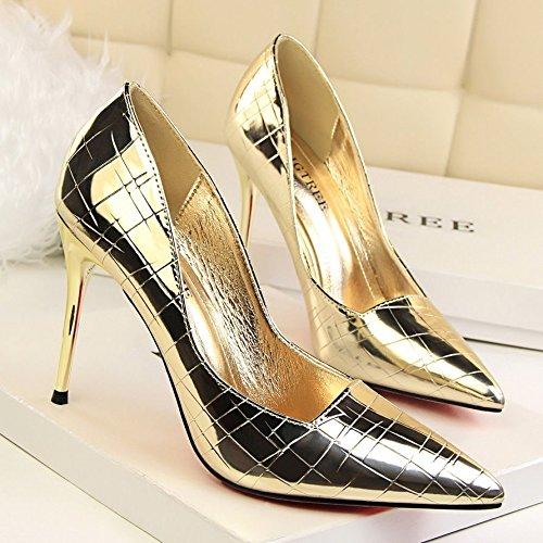 XINJING-S Plus Größe Damen High Heel Schuhe Hochzeit Schuhe Leder Stiletto Gold