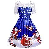 Soupliebe Mode Frauen Frohe Weihnachten Vintage Weihnachtsmann Print Lace Abend Party Kleid Abendkleider Cocktailkleid Partykleider Blusenkleid
