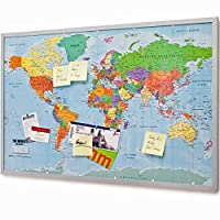 Pinboard–XXL world map memo board with cork and 20pin flags