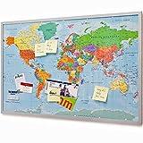 Goods & Gadgets Pinnwand Weltkarte 90x60cm - Memotafel mit Cork & 20 Markierfähnchen XXL