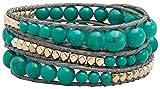 Sun Lifestyle Top Modisches Wickel Damen Armband mit Steinen Modeschmuck Größe Verstellbar (3-Fach Wickel) (Türkis)