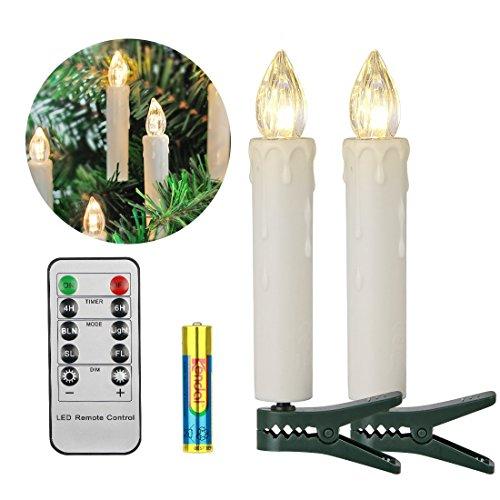 LED Kerzen Koopower mit Batterien Timer & Fernbedienung Dimmbar IP64 Flammenlose Weihnachtskerzen Lichterkette für Weihnachtsbaum, Weihnachtsdeko, Hochzeit, Geburtstags, Party (20er Warmes Weiß)