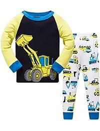 Pijama Niño Invierno-Pijama para Niños-Pijamas de Excavador Cohete Espacial Camión de Bomberos