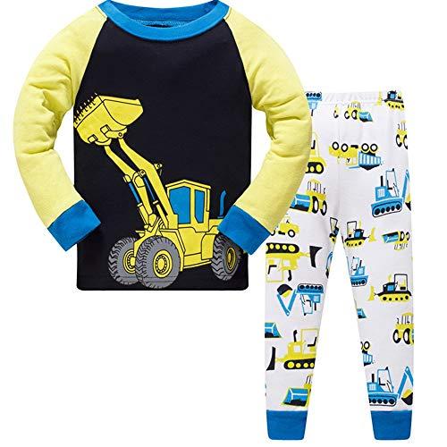 Jungen Schlafanzug Jungen Bagger Langarm Zweiteiliger Schlafanzug Kinder Traktor Herbst Winter Bekleidung Nachtwäsche Pyjama Set 122