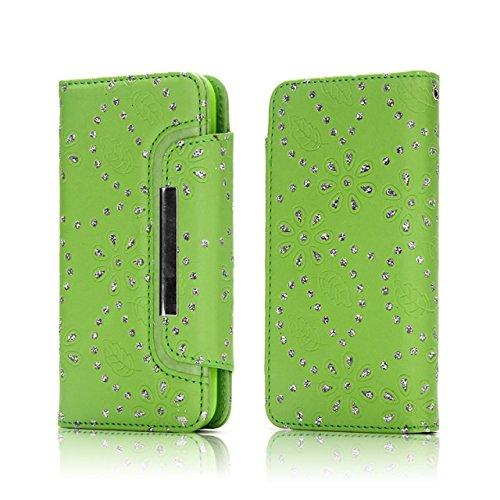 Hülle für iPhone 7 plus , Schutzhülle Für IPhone 7 Plus, Ahorn Blätter Muster Magnetische Klappe Gürtelschnalle 2 In 1 Abnehmbare Koffer PU Leder Flip Stand Brieftasche Fall Deckung ,hülle für iPhone  Green