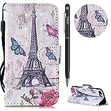 iPhone 7 Plus Hülle,iPhone 8 Plus Case Leder,WIWJ Prämie PU Klapphülle Leder Brieftasche [3D lackiertes Lederetui mit Lanyard]Lederhülle Tasche Wallet Case Handyhülle-Schmetterling Paris Tower