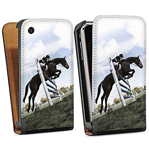 Apple iPhone 5s Housse étui coque protection Cheval Équitation Faire du cheval Sac Downflip noir