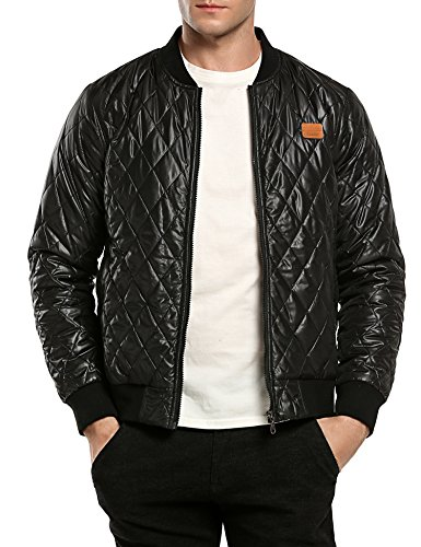 Coofandy Herren Bomberjacke Steppjacke Diamond Winter Zipper Outdoor Jacke