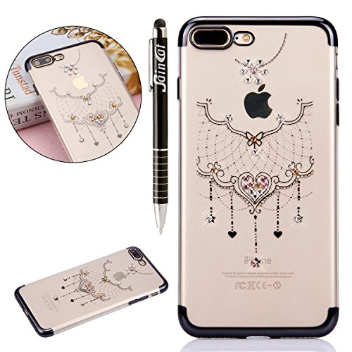 Custodia iPhone 7 Plus, iPhone 7 Plus Cover Silicone, SainCat Cover per iPhone 7 Plus Custodia Silicone Morbido, Custodia Bling Glitter Strass Diamante Silicone 3D Design Ultra Slim Silicone Case Ultr Collana in Pizzo #3