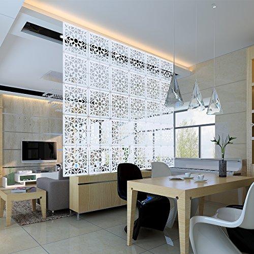 Kernorv Raumteiler Paravent Weiß DIY Paravants Raumtrenner Umweltfreundlichem PVC Holz-Plastik Trennwand Home Dekoration für Wohnzimmer, Schlafzimmer, Küche, Esszimmer - 12 PCS (Natur)
