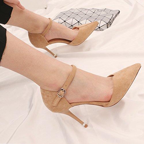 kphy-in Light di donne la primavera e l' estate scarpe Hollow alla luce del tacco alto con clip 9cm punta fine piatta con scarpe singolo Beige