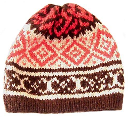 Alpacaandmore Unisex Beanie Muetze peruanische Alpakawolle Handgestrickt Verschiedene Farben Einheitsgroesse (Peruanische Mütze)