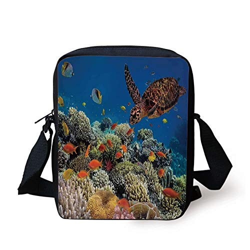 KLYDH Ocean,Fishes Old Turtle Hawksbill Floats Under Water Coral Reefs Dahab Red Sea,Blue Orange and Brown Print Kids Crossbody Messenger Bag Purse -