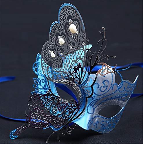 wsjwj Masken für Erwachsene Halloween Kind weibliche Prinzessin Half Face Make-up Kostümfest Venedig Maske Half Face Sexy Eisenmaske, halbe Gesicht Schmetterling blau Spielzeug
