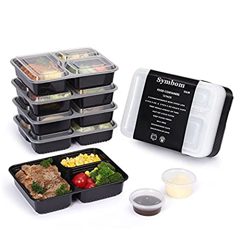 [12 Pack] Symbom 3 Compartment BPA Free Meal Prep Containers Reusable Plastic Food Containers with Lids. Portion Control Bento Boxes(1000 ml)Stackable, Microwavable, Dishwasher,Lunch Boxes + 6 Bonus Condiment Cups