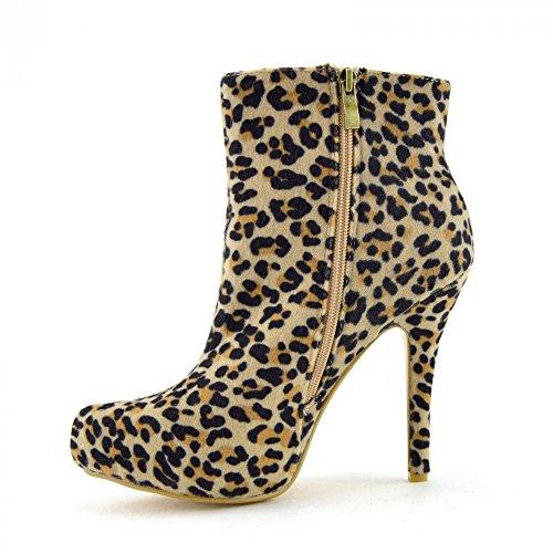 Kick Footwear Damen High Heel Stiefel Laceup Leopard