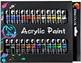 Set de 24 tubos de pinturas acrílicas Zenacolor - Pack de 24 x 12mL - Pinturas de calidad superior, no tóxicas - 24 colores únicos y diferentes