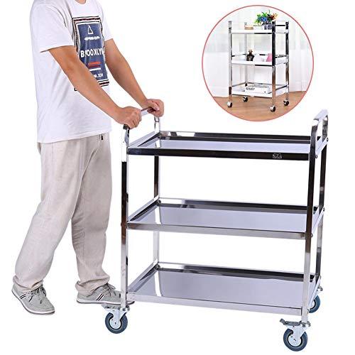 GOTOTOP Edelstahl Servierwagen Küchenwagen Transportwagen mit Rollen 3 Etagen Standregal 85 × 45 × 90 cm