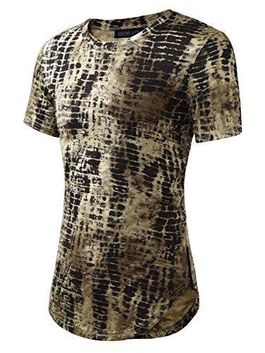 HEMOON Herren O-Neck T-Shirt Shaped Raglan Slim Rundhals Tie Dye Grün XL (Tie Dye Herren-xl)