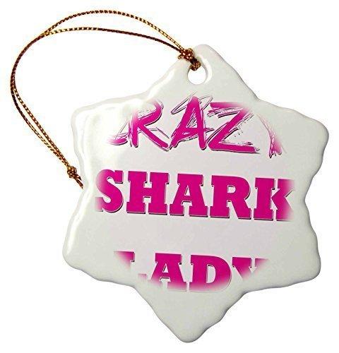 Shark Crazy (Funny Weihnachten Schneeflocke ornaments Crazy Shark Lady Urlaub Xmas Tree hängende Dekoration Ornaments Geschenke)