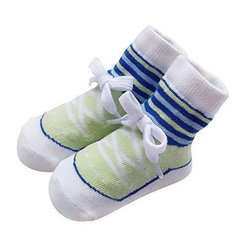 Sanlutoz Chaussons bébé Chaussettes nouveau-né Garçons étage Chaussettes coton (0-12 mois, SOCKA014-GR)