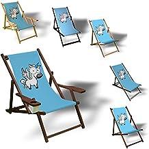 Einhorn mit großen Augen - Liegestuhl bedruckt Balkon Garten Sonnenliege Relax Holz Terrasse, Variante:ohne Armlehne. Dunkelbraun