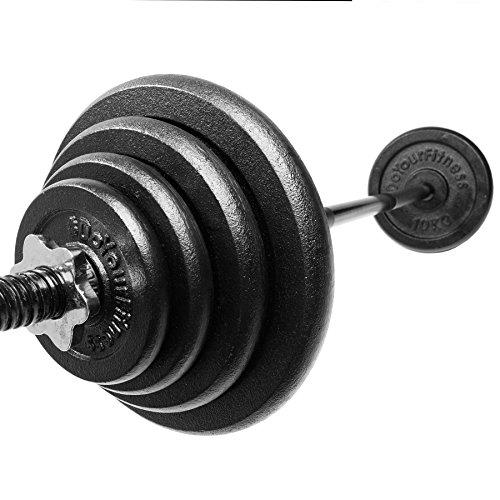 #DoYourFitness Langhantel (ca.120cm) mit Sternverschluss inklusive Hantelscheiben (Gewichte) aus 100{35d71a307b25b77ced8b971def6eeb615fc302c73b14b97eea88a3aa05fa4472} Gusseisen in unterschiedlichen Varianten 30kg 27,5kg 25kg 20kg 10kg :: 2x10kg