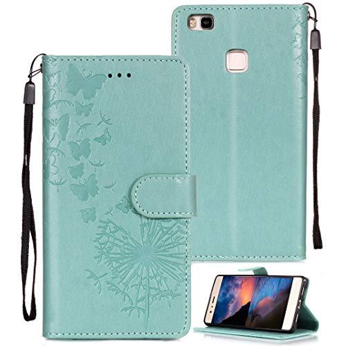 ToMoYi Huawei P9 Lite Hülle, PU Leder Brieftasche Handy Schutzhülle Flip Wallet Case mit Standfunktion, Kartenfach und Magnetverschlus Etui Schale für Huawei P9 Lite Smartphone Design Löwenzahn - Mikrofaser-wallet-karte