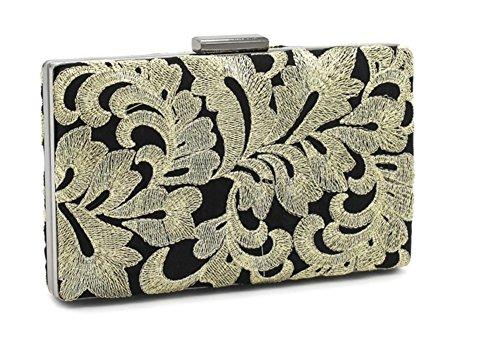 Shiratori Vintage-Spitzenstickerei Damen Abendtasche Handtasche Eintritt Paket Handbags,Gold Gold