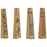 Exquisite Handmade Palm Leaf Painting large Bookmarks, Designed by Artisans of India, Rare Art form from Orissa - Pack of 4