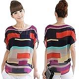 feiXIANG mode frauen sommer perspektive casual locker chiffon tops blusen Unregelmäßiges bunt gestreiftes hemd kurzärmliges T-Shirt (XXXL, Multicolor)