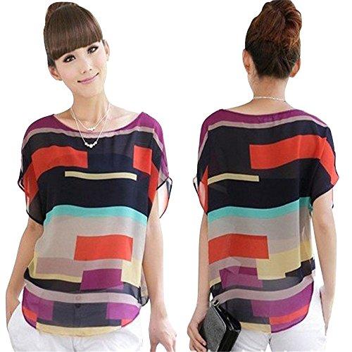 feiXIANG mode frauen sommer perspektive casual locker chiffon tops blusen Unregelmäßiges bunt gestreiftes hemd kurzärmliges T-Shirt (XXXL, Multicolor) (Bluse Großen T-shirt)