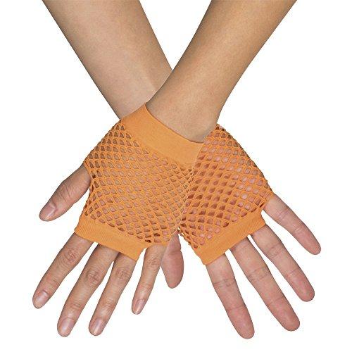 Kurze Fingerlose Netz Handschuhe New York - Neon Orange - Zubehör Party Fasching und Show ()