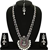 #9: Matushri Art Temple Jewelry of God Laxmi Dancing Peacock Antique German Oxidised Silver Plated Jewellery Set for Women