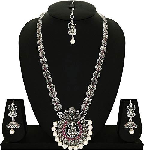 Matushri Art Temple Jewelry of God Laxmi Dancing Peacock Antique German Oxidised Silver Plated Jewellery Set for Women