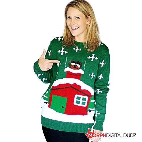 Morphsuits - Maglione natalizio, motivo: Babbo Natale incastrato nel camino, per adulti, XL