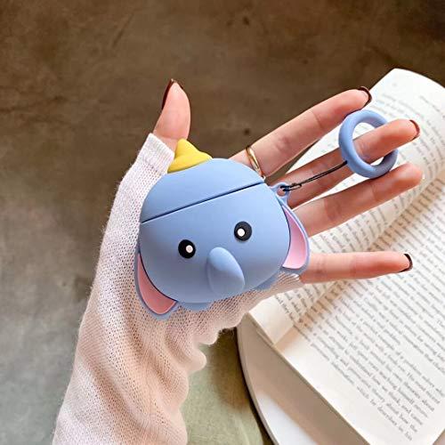 SevenPanda Tier Hülle für Apple Airpods 1 & 2, Cute Cartoon Silikon 3D Airpod Hülle, Weiche Kawaii Skin Kits mit Karabiner, Einzigartige Hülle für Mädchen, Kinder, Frauen, Air Pods - Dumbo Cute Apple