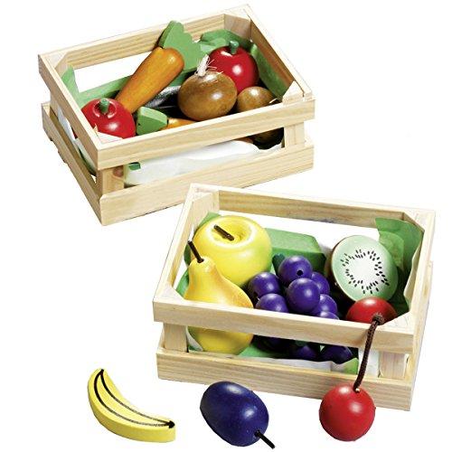 Unbekannt 2 Holzkörbe mit Holzobst und Holzgemüse, 16-teiliges Kaufladen-Set: Holz-Korb Kinderküche Zubehör Kaufmannsladen Kaufladenzubehör