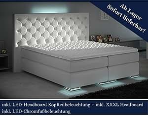 xxxl boxspringbett designer boxspring bett led chesterfield wei 200x200 k che. Black Bedroom Furniture Sets. Home Design Ideas